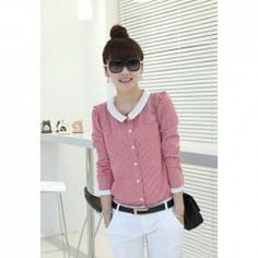 Wholesale Work Lapel Slimming Checked Long Sleeved Polyester+Cotton Shirt For Women (RED,L), Blouses - Rosewholesale.com