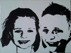Jill en Brend in zwart-wit op een doek van 30 X 40 cm.