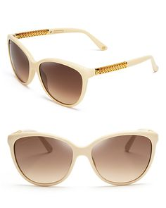 Gucci Cat Eye Sunglasses Beige/brown gradient 100% UV protection Metal detailing at sides logo at sides and lens corner 57 mm lens width Made in Italy