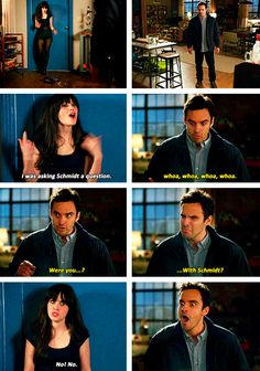 one of the funniest parts in new girl history. Jess thinks about getting with Schmidt and Nick catches her!