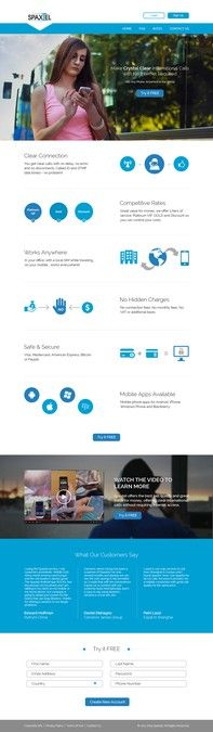 Well converting landing page needed for International Telecom service by ELF911
