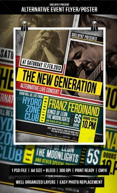 Alternative Event Flyer / Poster — Photoshop PSD #music #event flyer • Available here → https://graphicriver.net/item/alternative-event-flyer-poster/4108537?ref=pxcr