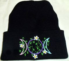 Triple Moon vines,flowers, Wiccan Clothing,PaganClothing, Purple, Black ,Witch,Pagan,Wiccan,Beanie,
