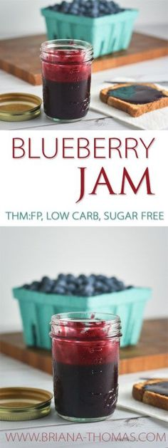 Blueberry Jam - no sugar added - low glycemic - low carb - low fat - Trim Healthy Mama friendly - THM:FP (Fuel Pull) - gluten free - egg free - dairy free - nut free (Gluten Free Recipes Freezer) Thm Recipes, Healthy Diet Recipes, Sugar Free Recipes, Canning Recipes, Healthy Eating, Disney Recipes, Disney Food, Paleo Diet, Recipies