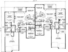 Multi-Family House Plan First Floor for Home Plan also known as the Brooke Ridge Duplex Home from House Plans and More. House Plans And More, Family House Plans, Country Style House Plans, Family Homes, Duplex Floor Plans, House Floor Plans, Plantas Duplex, Duplex Design, Townhouse Designs
