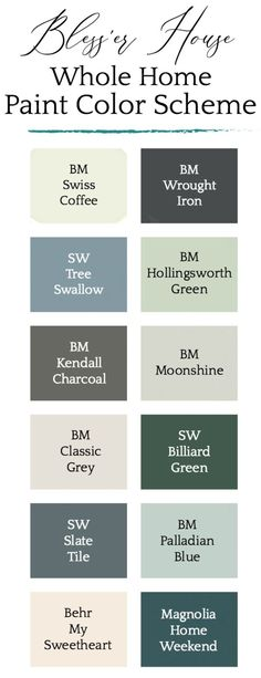 Our Whole House Paint Color Scheme. Our Whole House Paint Color Scheme. A whole house paint color palette featuring neutrals, blues, and greens for a dramatic, classic, calming home. Best Bedroom Paint Colors, Green Paint Colors, Favorite Paint Colors, Paint Colors For Home, Magnolia Paint Colors, Calming Paint Colors, Neutral Paint, Colours, Nautical Paint Colors