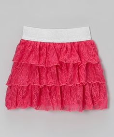 Loving this Cutie Patootie Fuchsia Floral Lace Tiered Ruffle Skirt on #zulily! #zulilyfinds