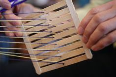 miniature backstrap looms made from Popsicle sticks