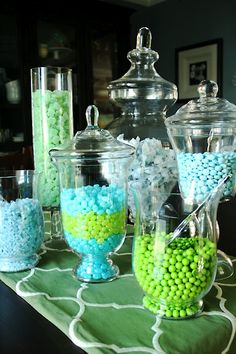 Lime, mint, aqua and white candy buffet party table!