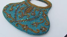 Teal+and+Gold+Handbag+Beaded+Purse+Bags+With+by+WhyWeLoveThePast,+$38.50