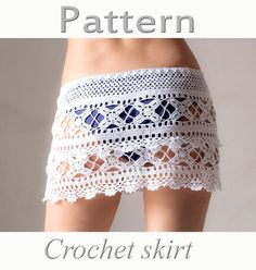 PATTERN Crochet beach skirt lacy skirt PDF