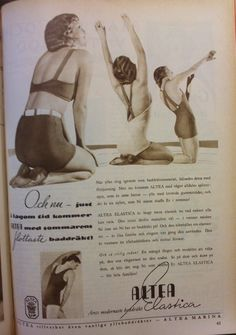 "Ad for a new type of swimsuit, with lastex. From Altea Women's magazine ""Husmodern"" 1934"