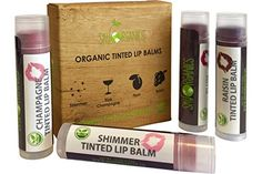 Organic Tinted Lip Balm by Sky Organics - 4 Pack Assorted Colors -- With Beeswax, Coconut Oil, Cocoa Butter, Vitamin E- Minty Lip Plumper for Dry, Chapped Lips- Tinted Lip Moisturizer. Made in USA * See this great image : Organic Skin Products Best Lip Balm, Diy Lip Balm, Tinted Lip Balm, Lip Tint, Organic Lip Balm, Organic Castor Oil, Organic Coconut Oil, Lip Plumper, Lip Balms