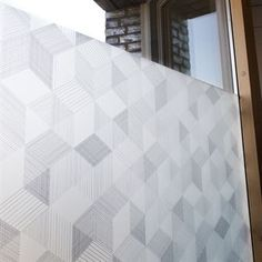 Geometric window frosting with graphite. One option for the office