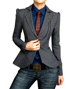 Not so Casual Friday-blue dress shirt, grey tailored milItary blazer, blue jeans, brick red tie, and belt