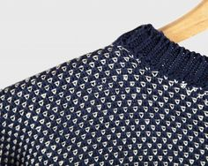 Birdseye Crew Neck — Navy and Natural — Inis Meáin Knitting Co.