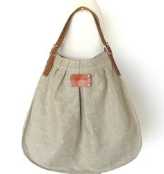 French Linen Bag - Beach Bag- Leather handles