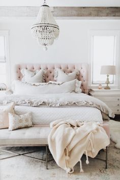 Jillian Harris' bedroom with our Q2 100% Linen roman shades with grosgrain ribbon banding on 3 sides.  These look great up OR down.  Visit Q. Design today to order your own roman shades online.