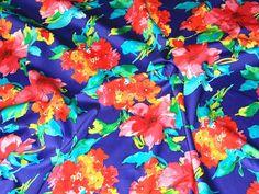 Blue/Multicoloured Floral Print Stretch Cotton Designer Dress Fabric - per metre http://www.minervacrafts.com/51.c-jardin-4157-b-bluemulticoloured-floral-print-stretch-cotton-designer-dress-fabric-per-metre.html