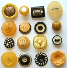 16 Vintage Cream/Black & Yellow Art Deco Celluloid Buttons