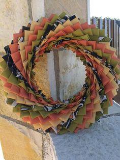 Fall fabric wreath Autumn decor wreath folded fabric wreath Fabric Wreath, Quilted Ornaments, Mediterranean Decor, Original Gifts, Fall Wreaths, Hostess Gifts, Fall Decor, House Warming, Etsy Handmade
