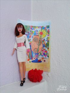 diy barbie doll white dress with pink belt and pink flower purse ~sewing pattern~