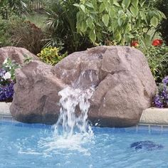 Interfab 350 GPH Alta Pool Side Waterfall, x x - Light Granite Swimming Pool Waterfall, Swimming Pools, Pool Fountain, Fountain Ideas, Light Granite, Pool Remodel, Pool Supplies, In Ground Pools, Pool Landscaping
