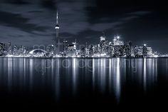 Toronto Skyline Black and White - 8x12 Fine Art Landscape - Cityscape, Reflection, Canada, Night Photography, Signed. $35.00, via Etsy.