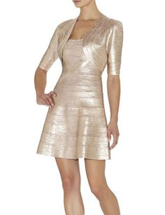 Herve Leger - Brilynn Signature Cropped Jacket - Woodfoil  metallic cropped jacket, layering piece