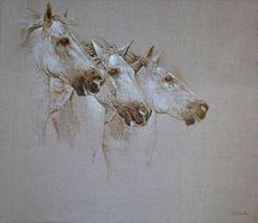 3 horses by Angelo Vadala. Oil on canvas via Saatchiart