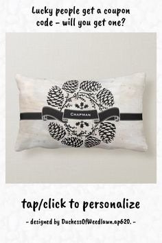 Rustic Personalized Winter Holly Pine Cones Laurel Lumbar Pillow - tap to personalize and get yours #LumbarPillow #winter #holiday, #christmas, #holly #berries Lumbar Pillow, Bed Pillows, Paint Background, Holly Berries, Black Ribbon, Rustic Design, Winter Holidays, Pine Cones, Custom Pillows