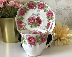 Check out our tea cups and saucers sets selection for the very best in unique or custom, handmade pieces from our shops. Cup And Saucer Set, Tea Cup Saucer, Tea Cups, Coffee Cups, Vintage China, Vintage Teacups, Chocolate Cups, Bone China, Pink Roses