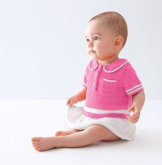 Modèle robe manches courtes Layette - Modèles Gratuits Layette - Phildar