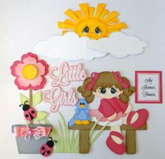 Little Girls Are...... Paper Piecing Set PreMade 4 Borders Scrapbooks Albums