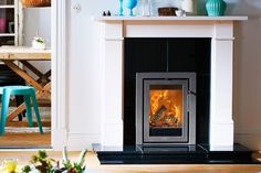 Contura wood burning stove installation from Kernow Fires. , Contura wood burning stove installation from Kernow Fires. Insert Stove, Wood Burning Fireplace Inserts, Stove Installation, Stove Heater, New Stove, Fireplace Hearth, Log Burner, Living Room Remodel, Home Furnishings