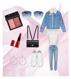 """Denim"" by yeechingmok ❤ liked on Polyvore featuring NARS Cosmetics, Giorgio Armani, Eddie Borgo, M.i.h Jeans, Yves Saint Laurent, Chanel and Christian Dior"
