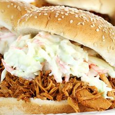 A great recipe for Pulled Pork Slaw Burgers. �Made in the slow cooker. Great for those days when you want to just watch the game and have a meal ready to go.. Pulled Pork Slaw Burgers Recipe from Grandmothers Kitchen.