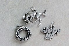 Charms, Animals: Giddy Up, Rope, Horse Sterling Silver Charms (3) #Traditional