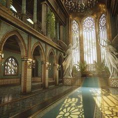 Fantasy Places, Fantasy World, Beautiful Architecture, Art And Architecture, Museum Architecture, Architecture Wallpaper, Ancient Architecture, Throne Room, Fantasy Castle