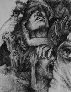 Presa da internet. Rappresenta l'inconscio dell'uomo in varie sfumature comportamentali ed emotive. #volti #braccia #rabia #paura #inconscio #tristezza #amarezza #urla #odio #disegno