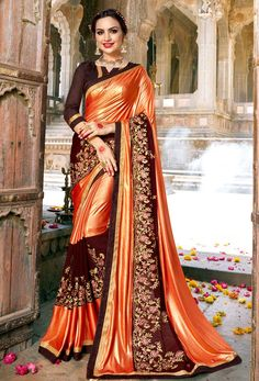 Orange saree with blouse. Paired with the matching blouse piece. Orange Saree, Blue Saree, Fancy Sarees, Party Wear Sarees, Satin Saree, Silk Sarees, Indian Sarees, Anarkali, Lehenga