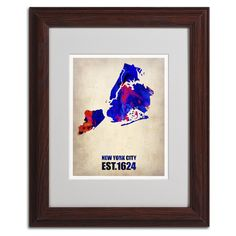 New York City Watercolor Map by Naxart Matted Framed Painting Print