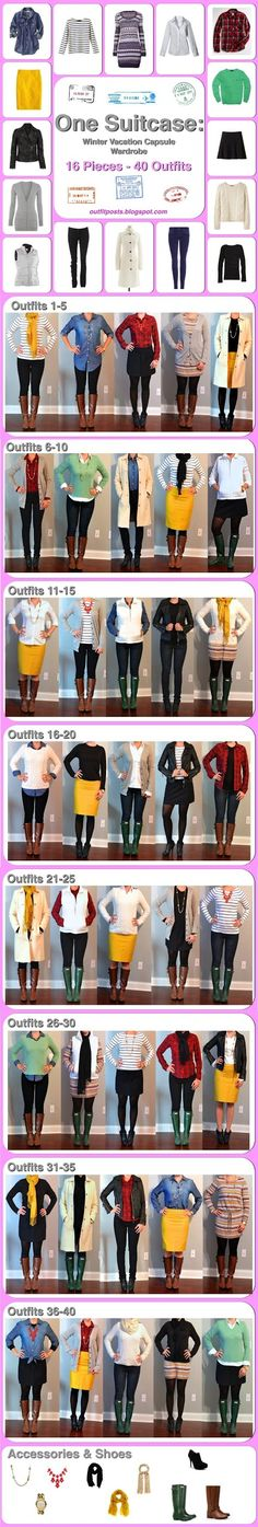 I generally dig this lady's look. Here's her massive winter wardrobe (40 outfits) from 16 pieces that fit in a carry-on. Awesome. This site has a bunch of one-suitcase packing options. Love!