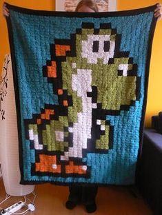 Yoshi Manta de croché arte quadrados avó pixels -  /    Yoshi Blanket crochet granny squares pixel art -