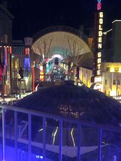 View of Fremont Street from the 5th floor of the Plaza.