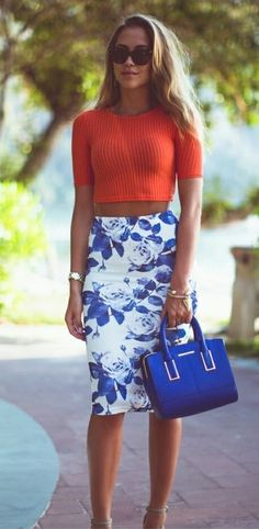 Red sheer ribbed crop top.... And this GORG blue flowered skirt and blue leather purse!!! In perfect cobalt blue!!!