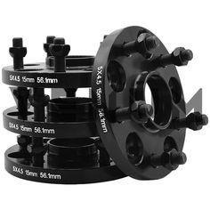 4PC BLACK SPIKED LOCKING LUG NUTS CONVERSION KIT 14X1.25-12X1.5 FOR WHEELS