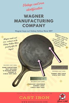 Wagner cast iron or Wagner Ware are some of the finest vintage cast iron cookware. Learn the history, dating, logos of Wanger Manufacturing Company. Cast Iron Skillet Cooking, Iron Skillet Recipes, Cast Iron Recipes, Cast Iron Griddle, Vintage Cast Iron Cookware, Restore Cast Iron, Wagner Cast Iron, Cast Iron Care, Cleaning