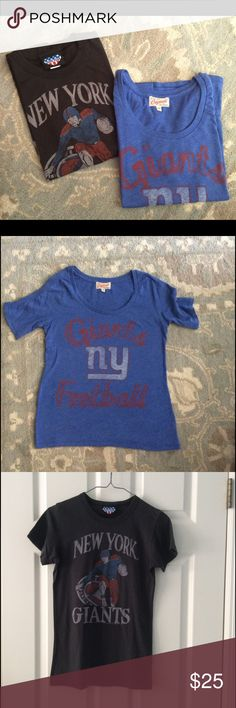"TWO Junk Food New York Giants Tshirts NFL 🏈 TWO NY Giants tshirts by Junk Food🏈🏈 blue is size S - black is Sz L. Both fit me (5'6"" slim w 34C bust) fine. Great for football Sundays! Junk Food Tops Tees - Short Sleeve"