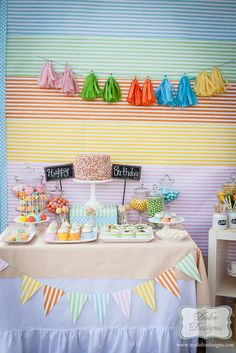 Amazing dessert table at a Rainbow Party!   See more party ideas at CatchMyParty.com!  #partyideas #rainbow